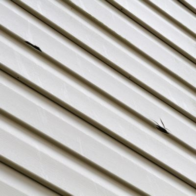 Hail damage caused to exterior siding.